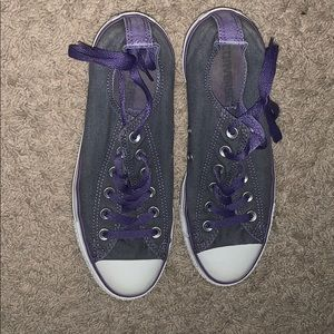 Gray and purple converse